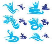 Vector collection of aqua park symbols