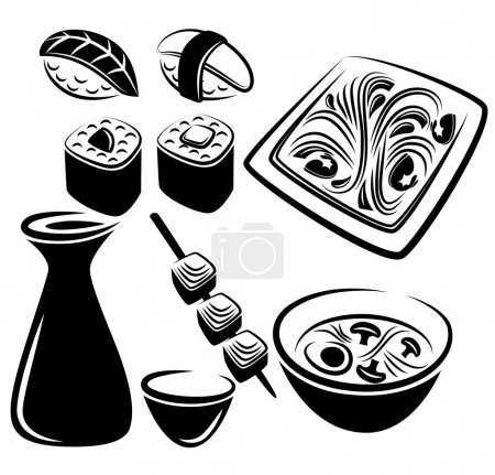 Illustration for Vector collection of asian food - Royalty Free Image