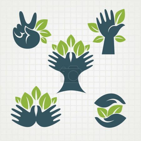 Illustration for Vector collection of ecological symbols and signs,human's hands and green growing plants - Royalty Free Image