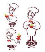 Jídlo a kreslený hlavní siluety