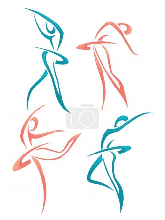 Vector collection of abstract women in ballet pose