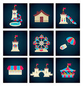 amusement park icons vector collection