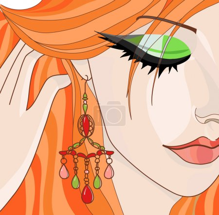 Red-haired girl with earrings