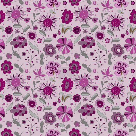 Illustration for Pattern with violet flowers. Vector illustration - Royalty Free Image