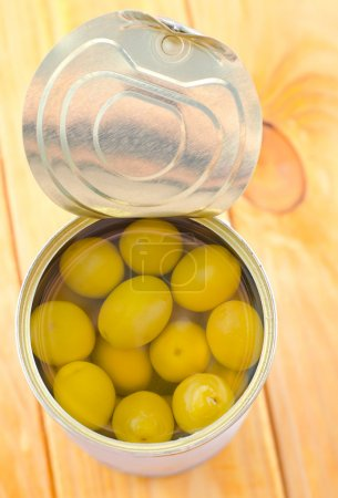 Photo for Olives in a tin can - Royalty Free Image