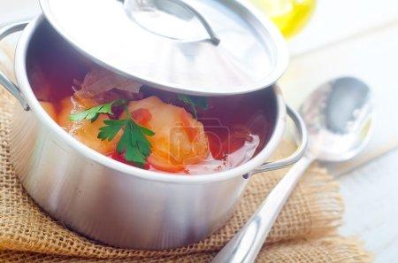 Photo pour Délicieux ragoût de veau soupe à la viande et aux légumes - image libre de droit