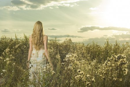 Photo for Portrait of beautiful girl in field - Royalty Free Image