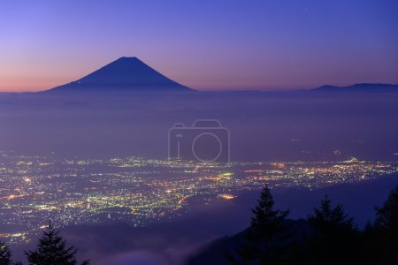 Lights of the Kofu city and Mt.Fuji at dawn