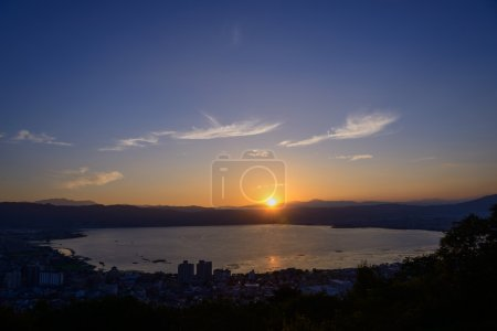 The city of Suwa at the moment of sunset