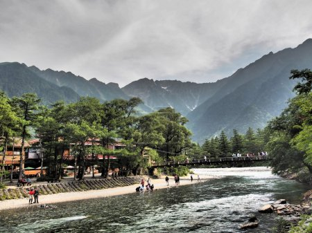 Kappa-bashi and Hotaka mountains in Kamikochi, Nagano, Japan