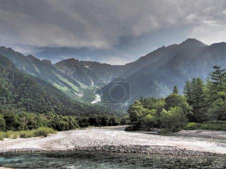 Azusa river and Hotaka mountains in Kamikochi, Nagano, Japan