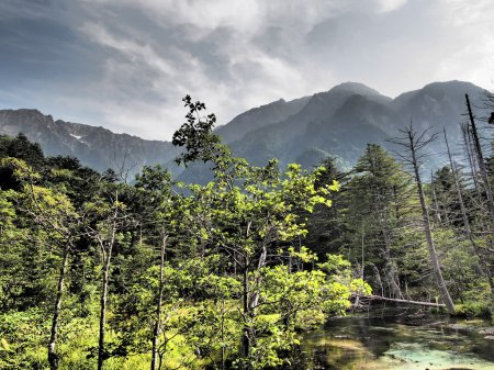 Azusa river and Hotaka mountains in Kamikochi, Nagano, Japan