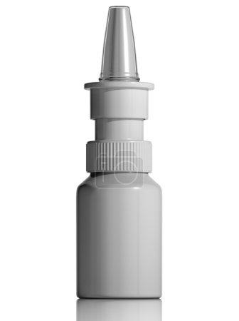 Photo pour Flacon médical en plastique blanc vaporisateur nasal isolé sur fond blanc, blanc pour étiquette, 3d - image libre de droit