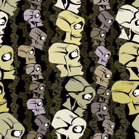 Illustration for Cartoon skulls seamless pattern, vector background. - Royalty Free Image