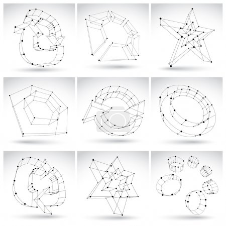 Set of 3d mesh monochrome abstract objects isolated on white bac