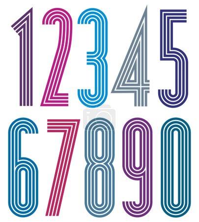 Números geométricos a rayas simples brillantes.