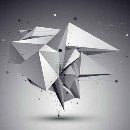 Illustration pour Techno contemporaine noir et blanc construction élégante, fond dimensionnel abstrait avec des lignes connectées . - image libre de droit