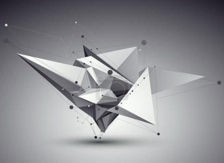 Illustration for 3D vector abstract tech illustration, perspective geometric unusual background with wireframe. - Royalty Free Image