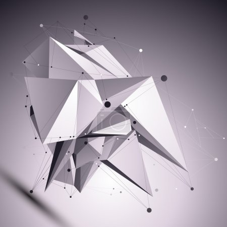 Illustration for 3D modern cybernetic abstract background, origami futuristic template with lines mesh. Asymmetric figure with black and white wireframe. - Royalty Free Image