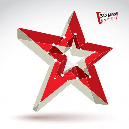 3d mesh soviet red star sign isolated on white background, color