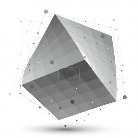 Distorted 3D abstract object with lines and dots isolated on whi