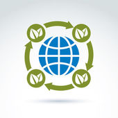Globe with leaves rotating icon circulation ecological environment theme concept vector conceptual unusual symbol for your design