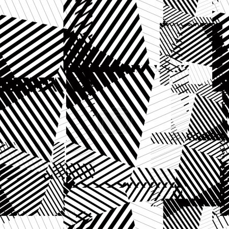 Black and white seamless pattern with parallel lines and geometr
