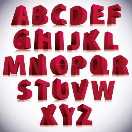 Illustration for 3D font, big red letters standing, vector eps 8. - Royalty Free Image