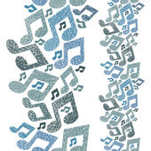 Music theme seamless pattern with notes vertical composition repeating vector background with hand drawn lines textures