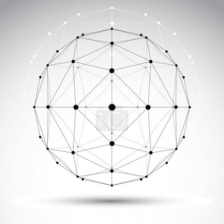 Abstract geometric 3D wireframe object, modern digital technolog