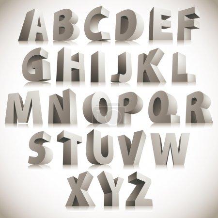 Illustration for 3D font, big white letters standing, vector eps 8. - Royalty Free Image