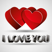 I love you phrase made with 3d letters and two red hearts isolat