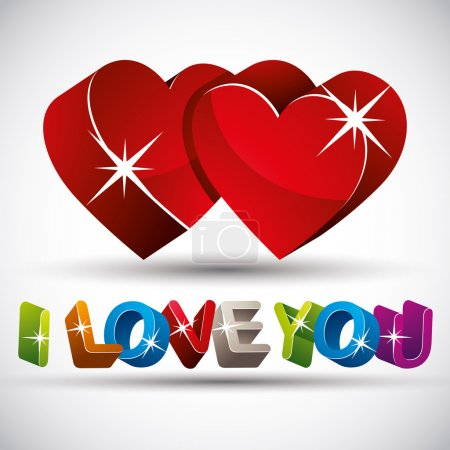 I love you phrase made with 3d colorful letters and two red hear