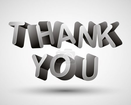 Illustration for Thank you lettering made with 3d letters isolated on white background, vector. - Royalty Free Image