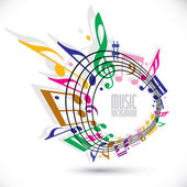 Colorful music background with clef and notes music sheet in ro