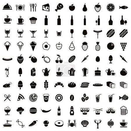 Photo pour Ensemble de 100 icônes alimentaires et boissons, collection de vecteurs noirs et blancs . - image libre de droit