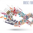 Постер, плакат: Forever music concept infinity symbol made with musical notes a