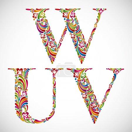 Ornate alphabet letters U V W.