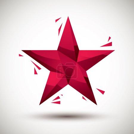 Illustration pour Icône géométrique étoile rouge faite dans le style moderne 3d, le meilleur pour une utilisation comme symbole pour le web ou l'élément de conception d'impression . - image libre de droit