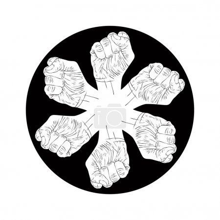 Six fists abstract symbol, black and white vector special emblem