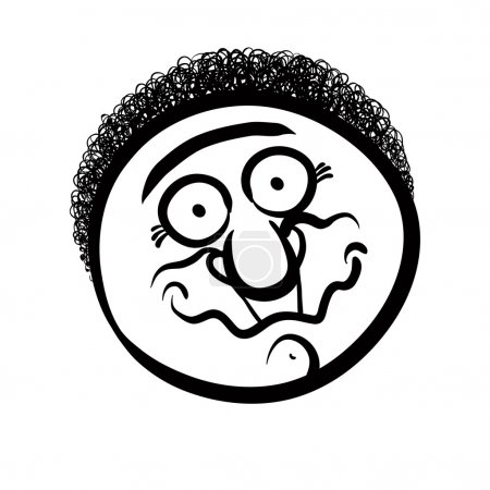 Illustration for Funny cartoon face, black and white lines vector illustration. - Royalty Free Image