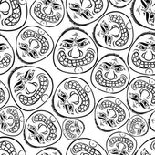 Funny faces seamless background black and white lines vector ca