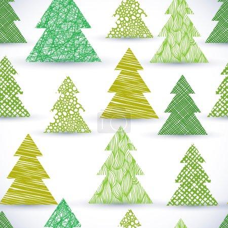 Illustration pour Christmass arbre motif sans couture, textures de lignes dessinées à la main utilisés . - image libre de droit