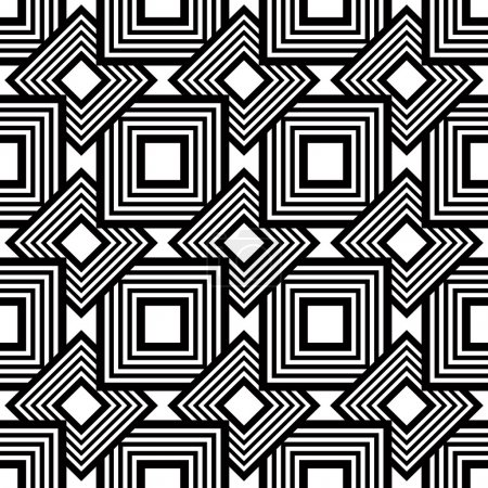 Seamless black and white pattern, simple vector stripes geometri
