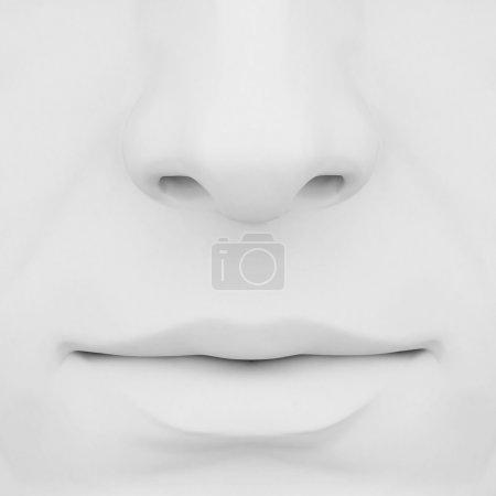 Photo pour Nez et bouche sur fond gris 3D - image libre de droit