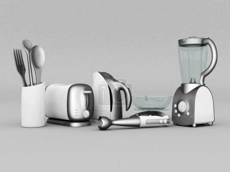 Photo pour Photo des appareils ménagers sur fond gris - image libre de droit