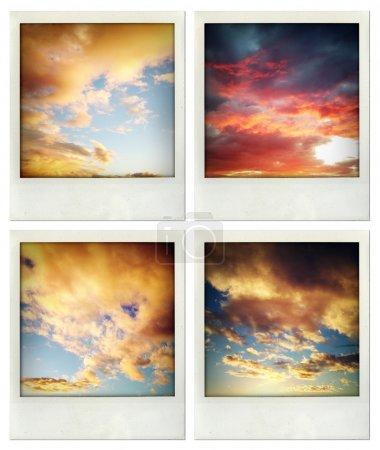 vier Fotos von Wolken am Himmel