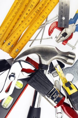 Photo for Closeup of work tools on plain background - Royalty Free Image