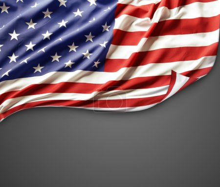 Photo for Closeup of American flag on dark background - Royalty Free Image