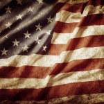 Closeup of grunge American flag...